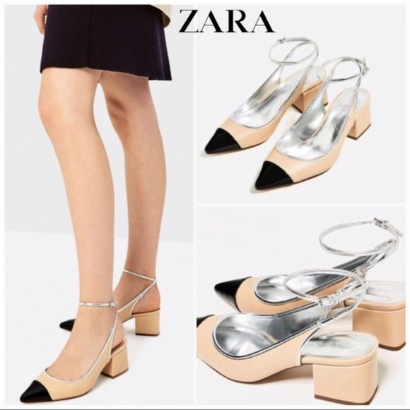 NWOT ZARA two-tone cap toe block heel slingbacks